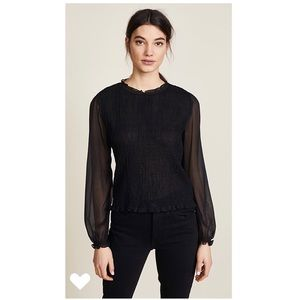 Rag & Bone Diana Blouse blck Smocking Lng Slv Silk